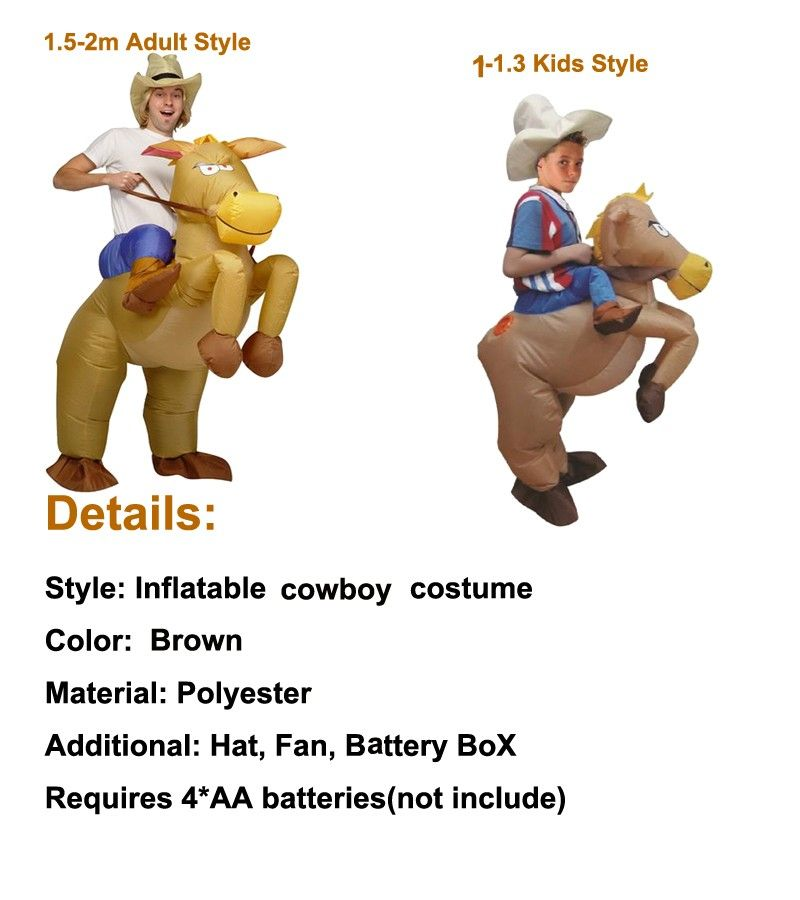 800 Cowboy Horse Outfit Purim Funny Inflatable Costume Halloween Carnival Cosplay Cow Boy Rider Horse Inflatable Costume