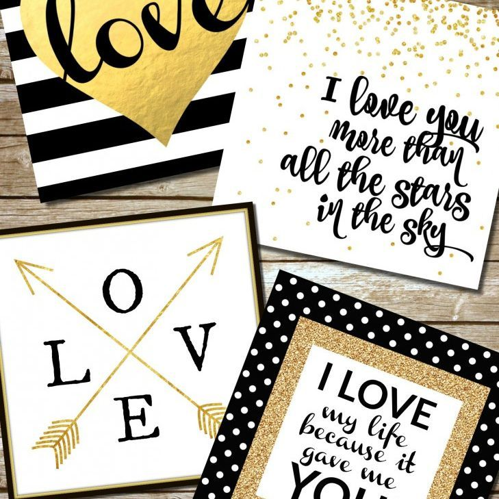 Four Anniversary Cards in Black White and Gold