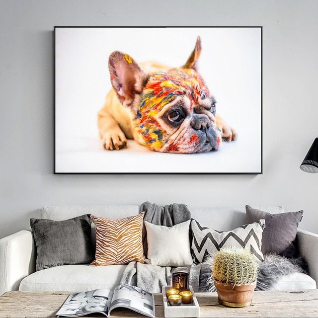 French Bulldog Wall Art Posters Realist Family Pet Dog Canvas Art Paintings Teacup Yorkie Canvas Art Prints Home Wall Decor