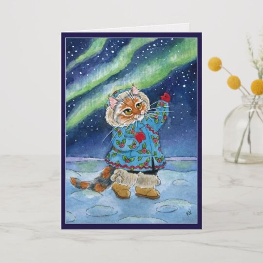 Cute cat winter northern lights funny Christmas Holiday Card