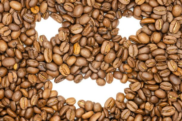 Roasted coffee beans funny smile face close up Delicious raw Indian Arabica coffee