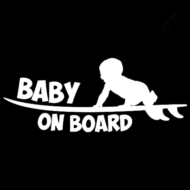 18 8CM 7 6CM Baby Board Funny Vinyl Sticker Cute Surfboard Surfer Car Sticker Reflective Silver Car Styling Decals C8 0512 in Car Stickers from