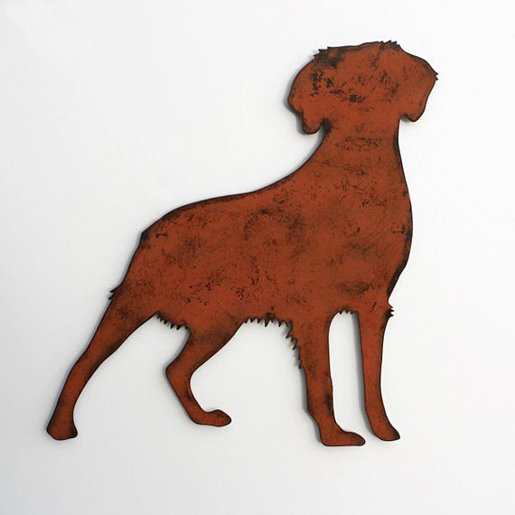 "Brittany Spaniel wall art 24"" wide metal dog silhouette profile painted rusted steel"