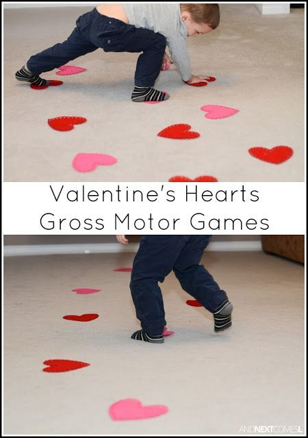 Valentine s Day themed gross motor boredom busters for kids from And Next es L