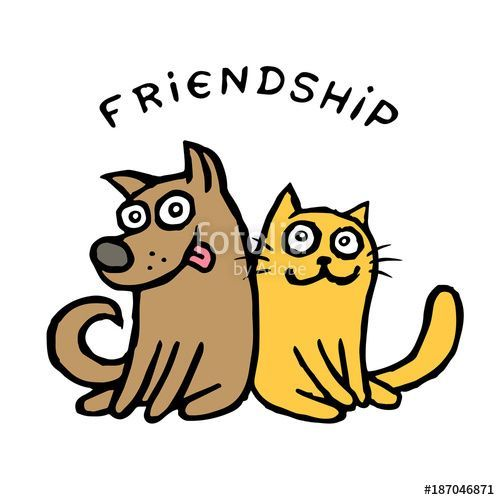 love pets best friends drawing game cat dog cat and dog cartoon cute illustration happy humor funny animals fur happiness holiday art