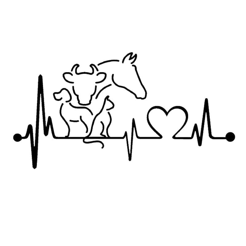 20 10 6CM Dog Cat Horse Cow Heartbeat Lifeline Monitor Creative Funny Animal Car Sticker