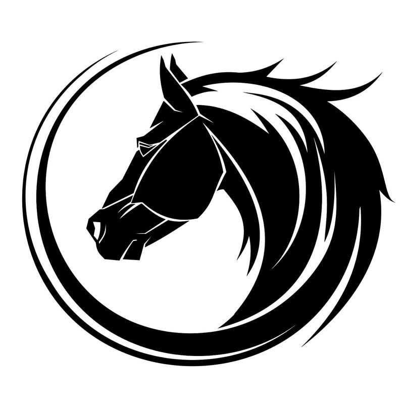 14 12 2CM Creative Arc Horse Head Car Styling Bumper Decal Personality Car Sticker Black