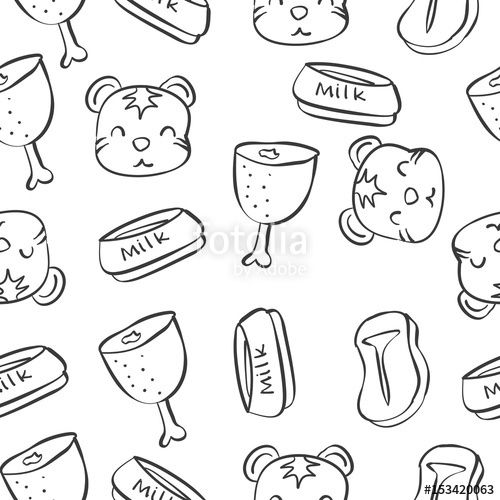 Pattern with funny cat hand draw