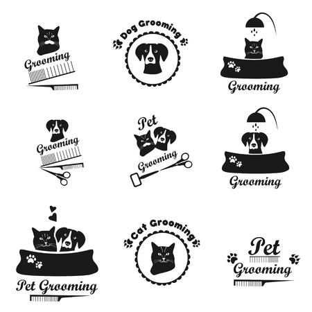 Pet grooming black emblem collection