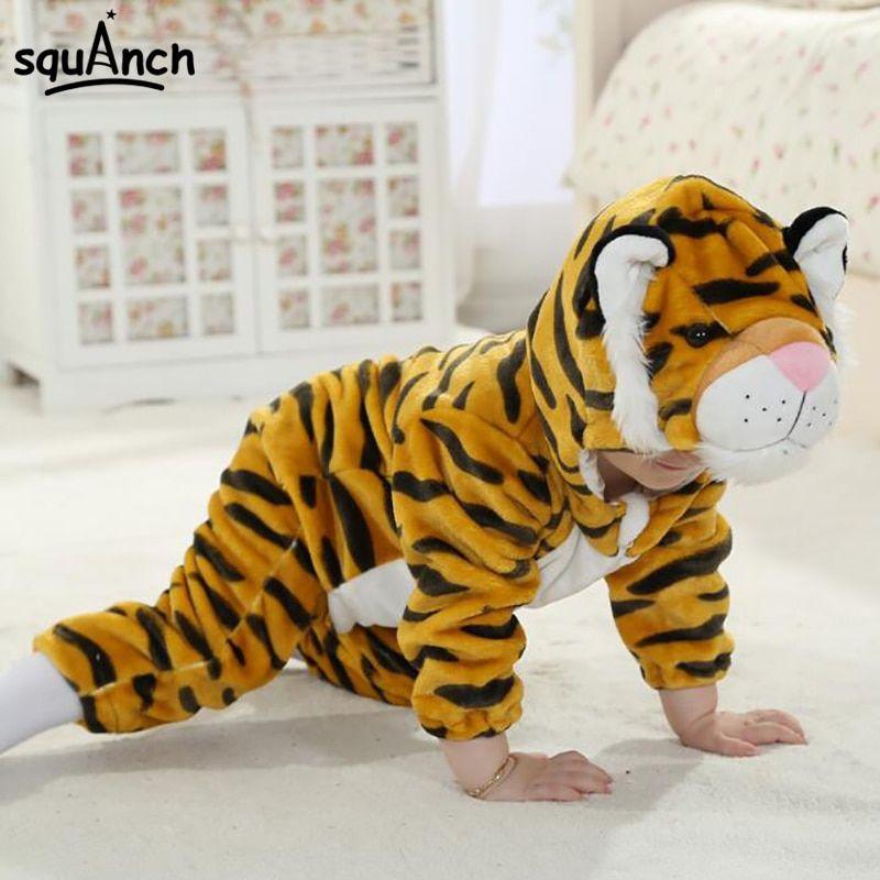 Cartoon Animal Tiger Baby esie Kids Kitty Kigurumi Cute Soft Warm epiece Jumpsuit Infant Twins Spring Winter Pajama Costume on Aliexpress