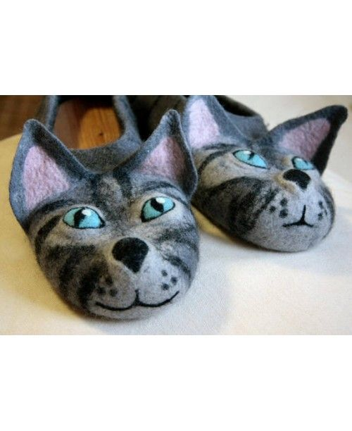 2017 Fashion felted gray cats slippers EU 40 READY to SHIP animal slippers t for cat