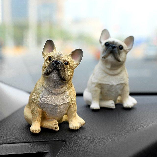Car Ornament Cute Mini Decoration Resin French Bulldog Doll Automobile Interior Dog Figure Dashboard Toys Decor Accessories Gift