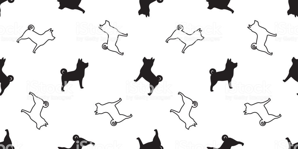 Dog seamless pattern vector isolated Shiba Inu Dog Breed wallpaper cartoon tile background royalty free