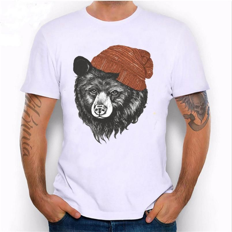Summer Design Bear Cool T Shirt Men Hip Hop Funny Tumblr Animal Tshirt Male Casual Novelty Tee Shirt Short Sleeved Top T R3627 Really Funny T Shirts Funny