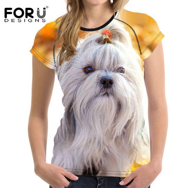 FORUDESIGNS Fashion Women Summer T Shirts Cute 3D Animal Shih Tzu Dog Print Female T shirts Short Sleeve O Neck Top Tee Clothing