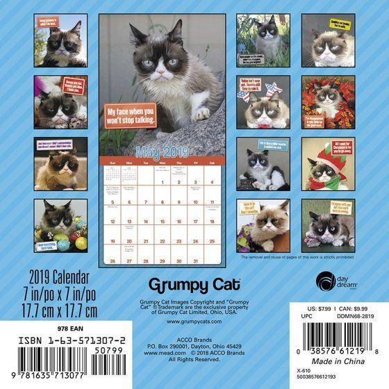 2019 Grumpy Cat 2019 Mini Wall Calendar Funny Cats by ACCO Brands Walmart