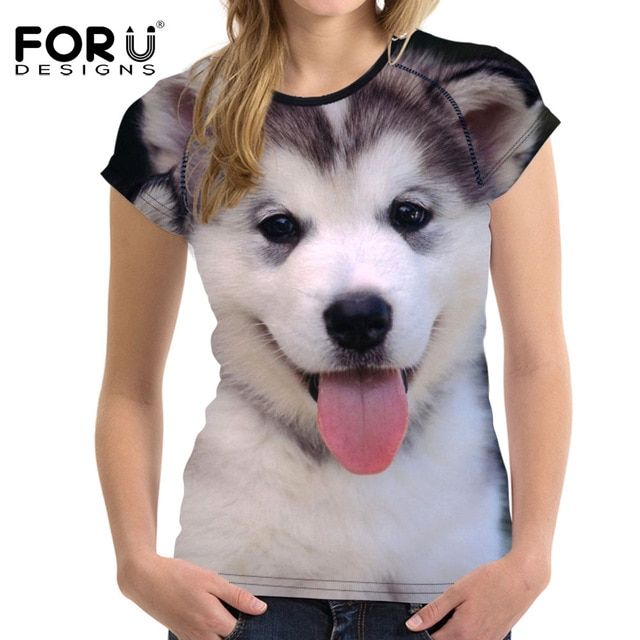 FORUDESIGNS Cute 3D Husky Women T Shirt 2018 Brand Woman Summer T shirt Crop Tops