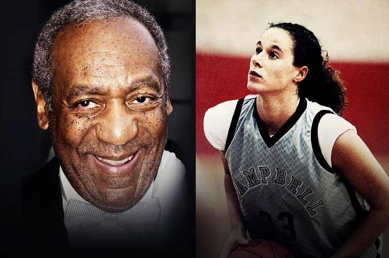 Left Bill Cosby in 2004 Right Andrea Constand plays highschool basketball 1991