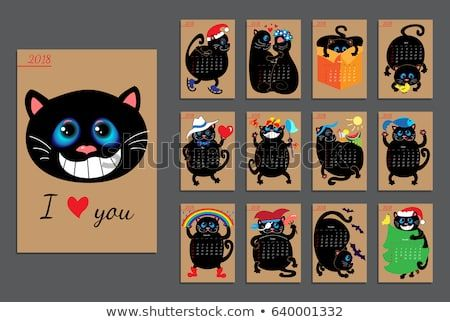 Calendar with funny cats for 2018 year Vector design template Set of 12 months