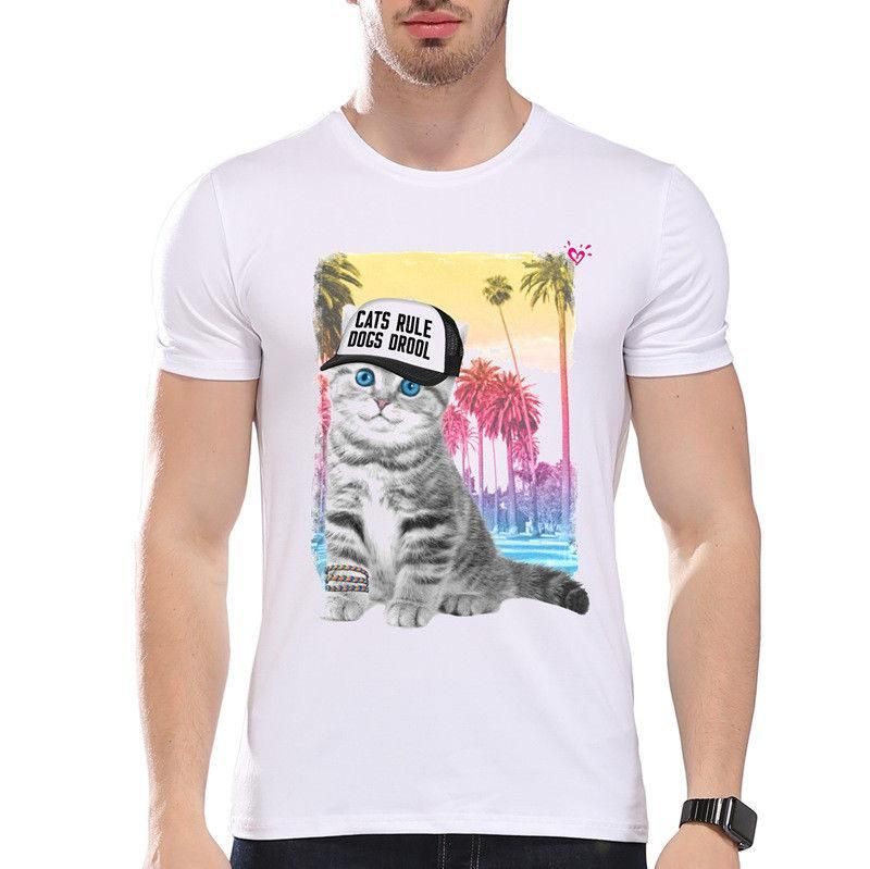 Cats Rule Dogs Drool Animals Cute Pet Friends Funny Joke Men T Shirt Tee Awesome T Shirts Cotton Shirts From Caisemao1 $11 68 DHgate
