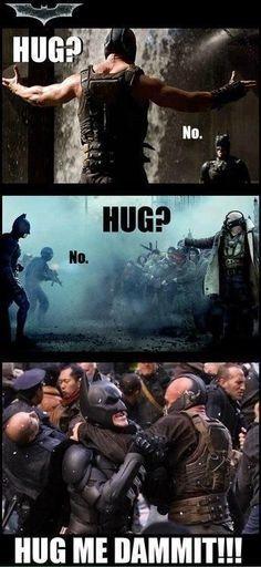 batman rises and bane funny pictures Bane needs a hug