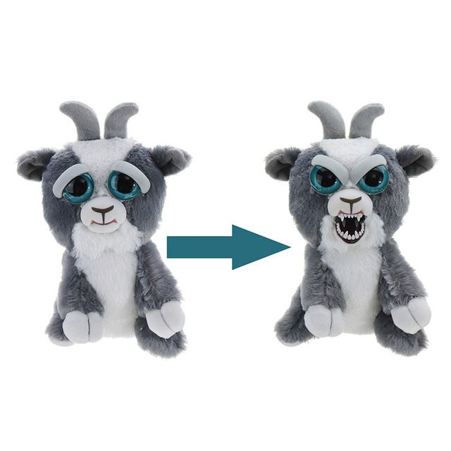 Feisty Pets 1pcs Change Face Goat Sudden Changing Expression Growling Plush Stuffed Animal Doll For Kids