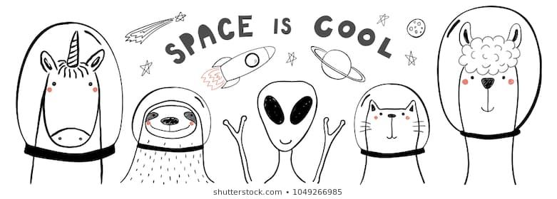 Hand drawn portrait of a cute funny animals in space with typography Isolated objects