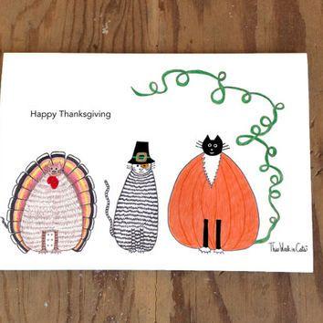 Cat card Happy Thanksgiving Funny Cats Three Cats Turkey Pi
