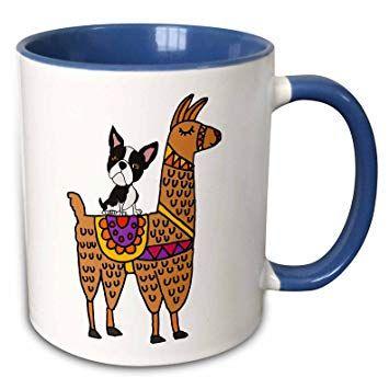 3dRose 6 Funny Cool Boston Terrier Dog Riding Llama Cartoon Mug 11 oz