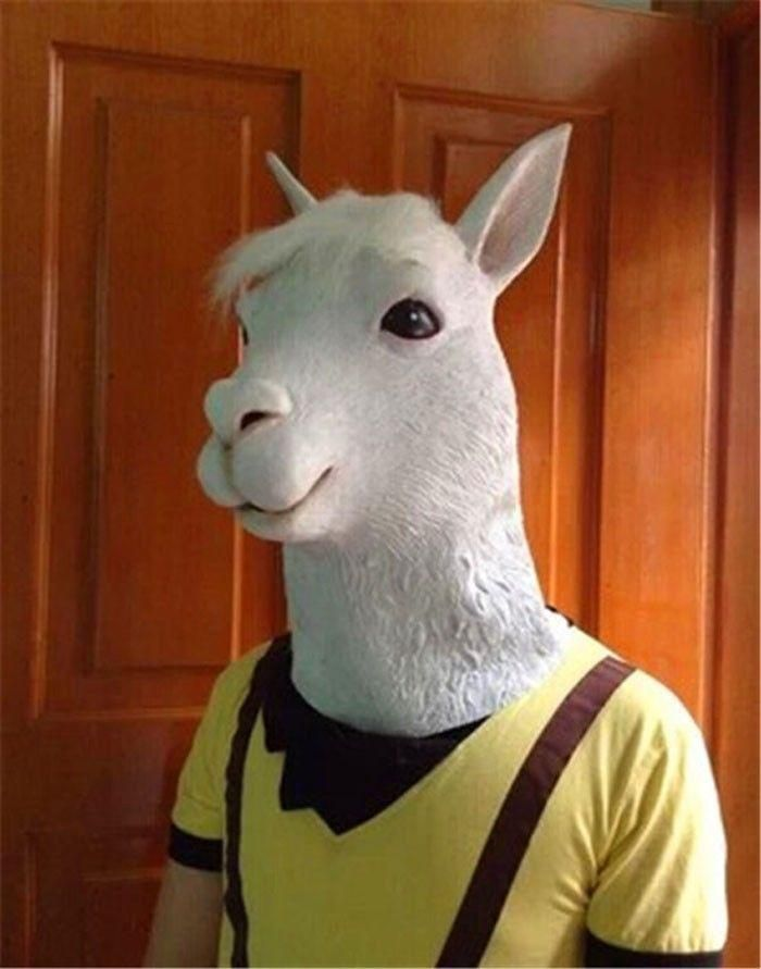 Alpaca Mask Horse Mask Funny Animal Head Latex Mask Party Cosplay Mask Adult Mask Halloween Costume Theater Prop Novelty Make Your Own Masquerade Mask Male