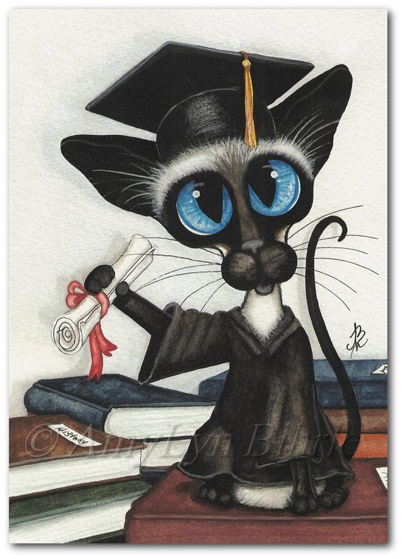 Siamese Cat Graduation Art Prints by Bihrle ck369