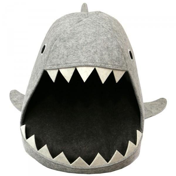 Funny Shark Light Grey Felt Cat Bed Cat Furniture