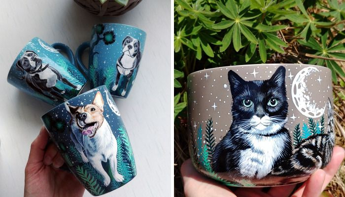 I Hand Paint Your Beloved Pets Into Magical Nature Scenes Mugs