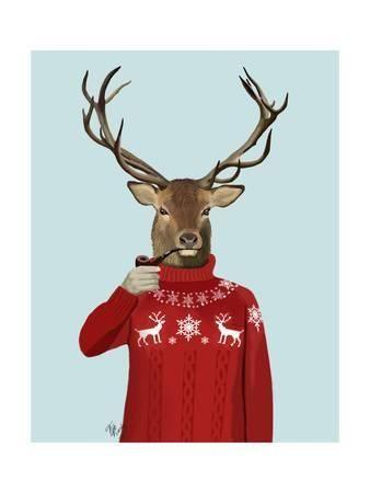 fab funky deer in ski sweater u L Q11AK180