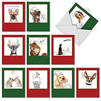 Holiday Dogs & Doodles Christmas Cards Boxed Set of 10 Puppies & Christmas Illustrations Holiday Notes 4 x 5 12 Inch Christmas Doggies with Santa Hats