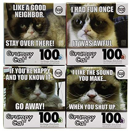 Amazon DG Home Goods Set of 4 ficial Grumpy Cat 100pc Jigsaw Puzzles Funny Meme Kids Adults Tweens Bundle Toys & Games