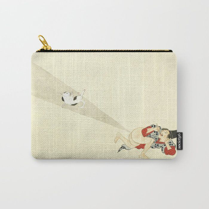 Samurai Farting A Cat Funny Japanese Samurai Carry All Pouch by tinydragondesigns