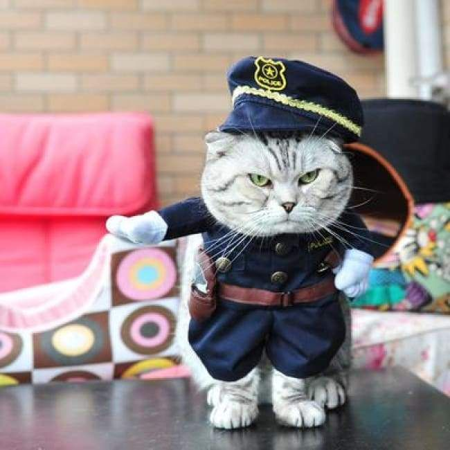 Funny Cat Clothes Costume Halloween Costume Policeman 2 Pet Accessories