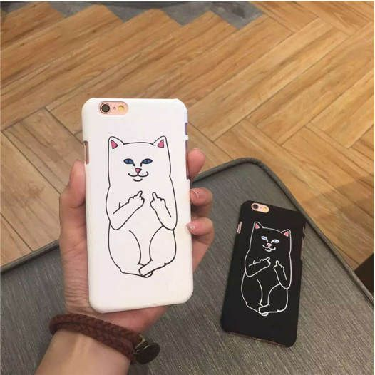 placeholder Funny Cartoon Cat Phone Cases Cute Grumpy Animal Middle Finger Back Cover Capa For iphone 7