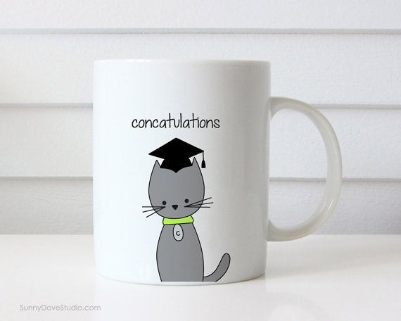 Funny Coffee Mug Graduation Congratulations Congrats Grad Pun Cat Concatulations Quote Mugs Cute Fun Gifts handmade graduation graduate ts