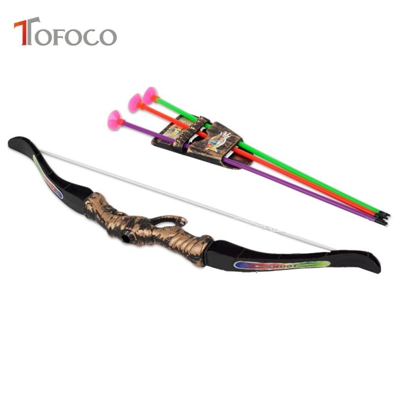 Aliexpress Buy TOFOCO 5Pcs 35Cm Funny Children Outdoor Plastic Archery Children S Bow And Arrow Toy For Shooting Toys Boy Gifts With Sucker from
