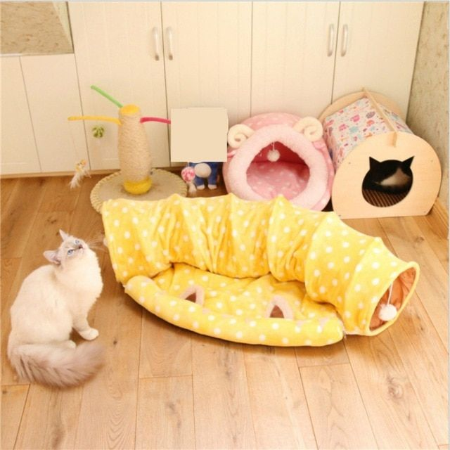 New Pet Tunnel Cat Beds House and Sleep with Ball Cat Play Tunnel Funny Cat Long Tunnel Play Toy Collapsible Bulk