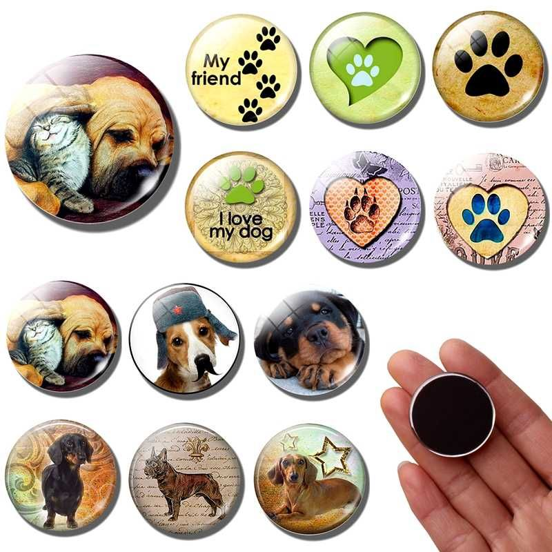 Dog Paw 30 MM Fridge Magnet cute pet Puppy Dog animal Glass Dome refrigerator magnets Stickers