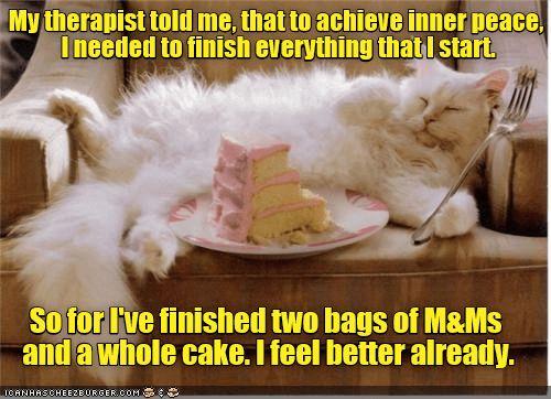 cat cake caption finish inner peace therapist start m&ms m&ms
