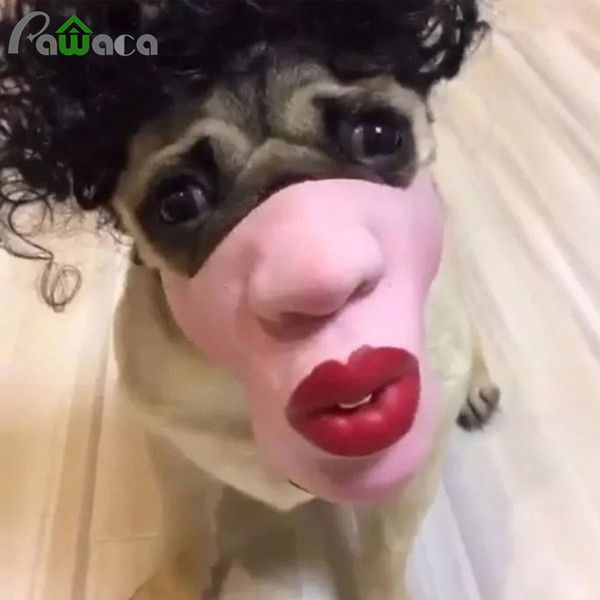 latex dogs toy Promo Codes Pet Dog Funny Red Lips Masks Pet Toys Face Mouth