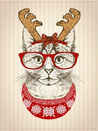 Vintage graphic poster with hipster cat with red glasses dressed in deer horns hat and