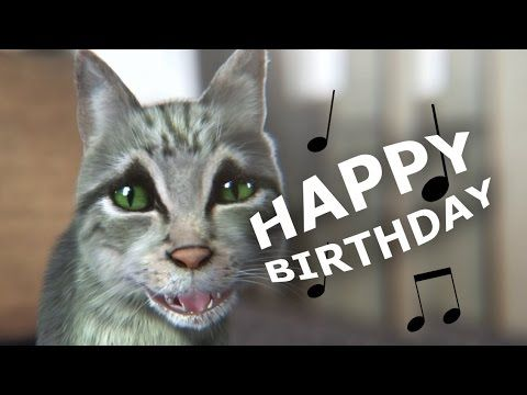 Cute but funny cat sings happy birthday
