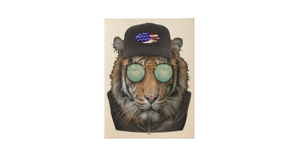 funny wildlife dressed up funny bengal tiger wood poster r0123dbb a7a28b02faf4adee 6775h 630