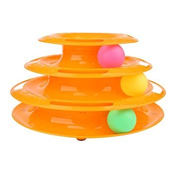 Dougez Cat Toy Tower of Trackers Interactive Cat Ball Play Toy Three Layers of Rotary Funny Chase Balls Suitable for Cats and Dogs orange Amazon