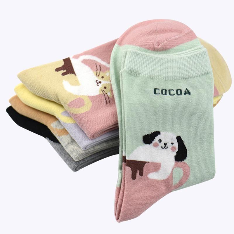 2019 2018New Coon Socks Women Cartoon Animal Cat Dog Cute Girls Colorful Socks Funny Socks Female Art Sock Meias Sox Hosiery From Ladylbdcloth